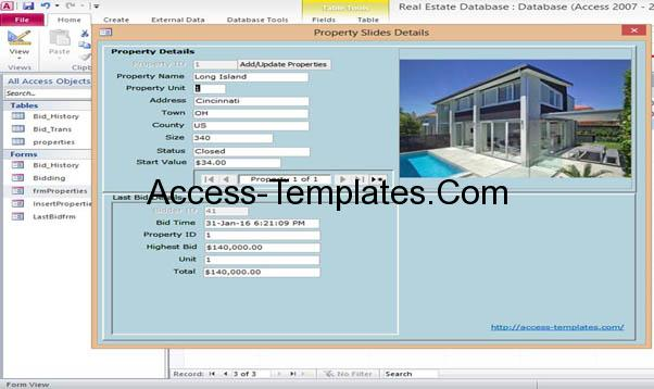 Microsoft access property real estate management templates for Ms access html template