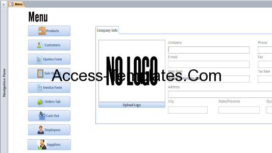 Microsoft Access Customers Invoices Orders Templates Database
