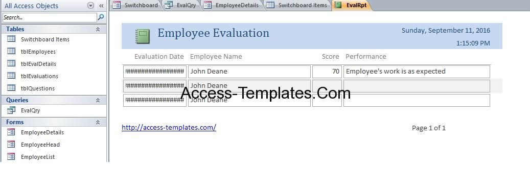 Employee Evaluation Database