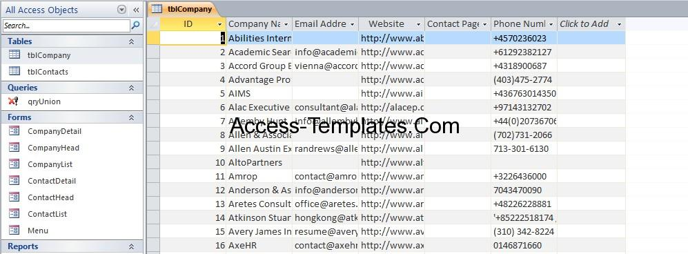 Contact Database Management Software for Ms Access Templates