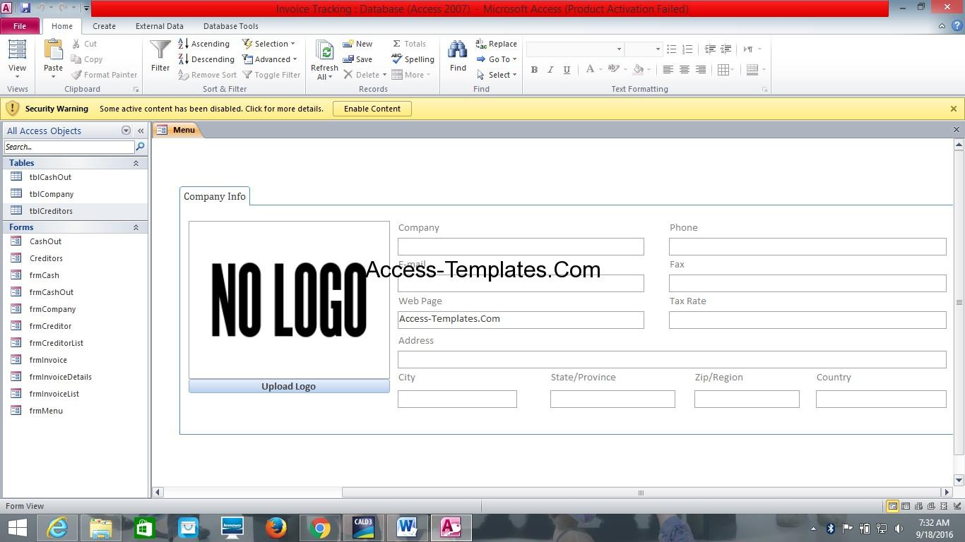 microsoft access quotation template - ms access database invoice tracking template access