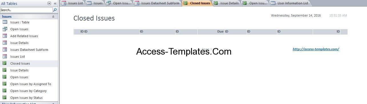 issue tracking database design