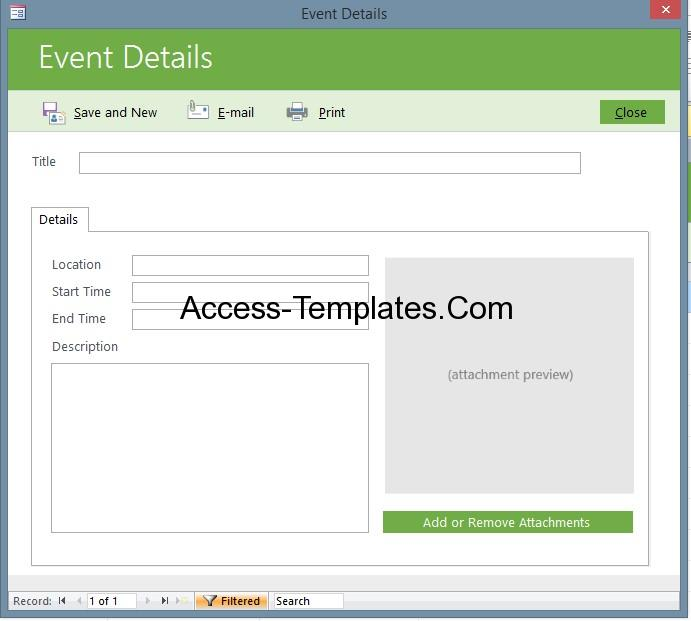Microsoft access event management template database for Ms access html template