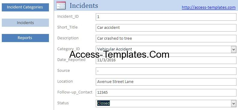 Access Templates Incident Management System And Report Database