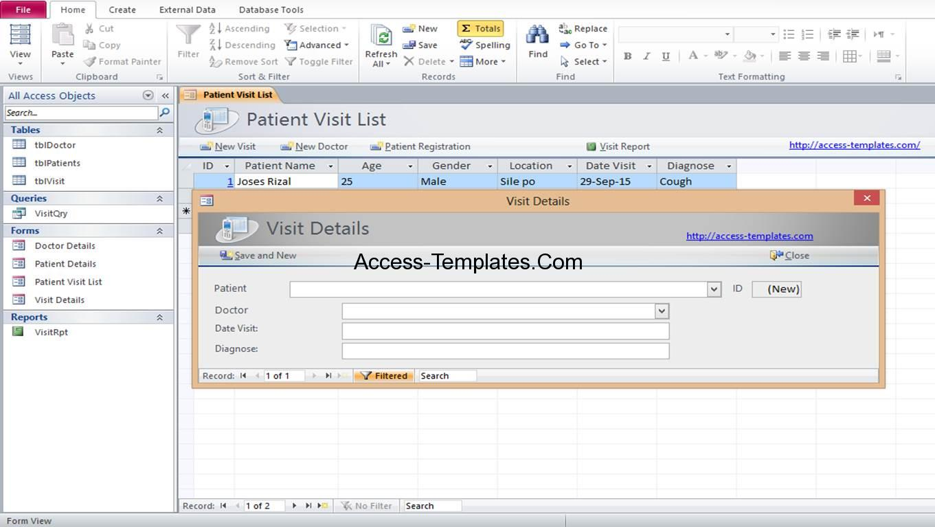 access hospital management database