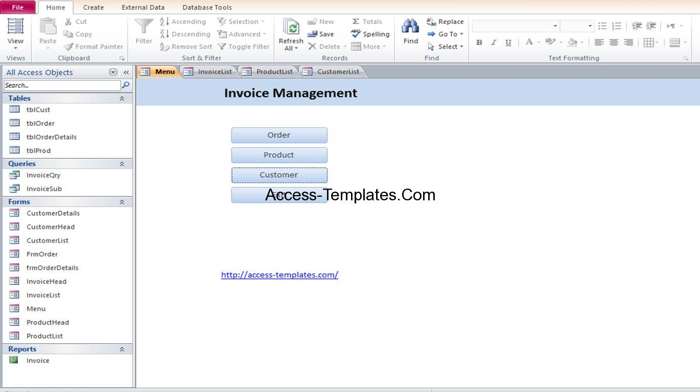 Microsoft Access Invoice Order Management Database Templates