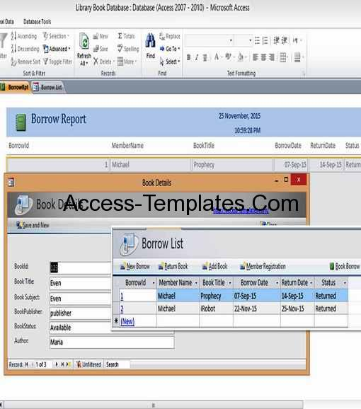 Microsoft Access Library Book Management Database Templates