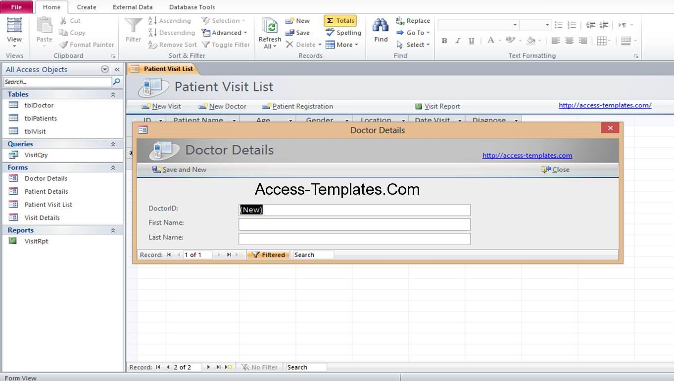 access medical doctor registration database templates