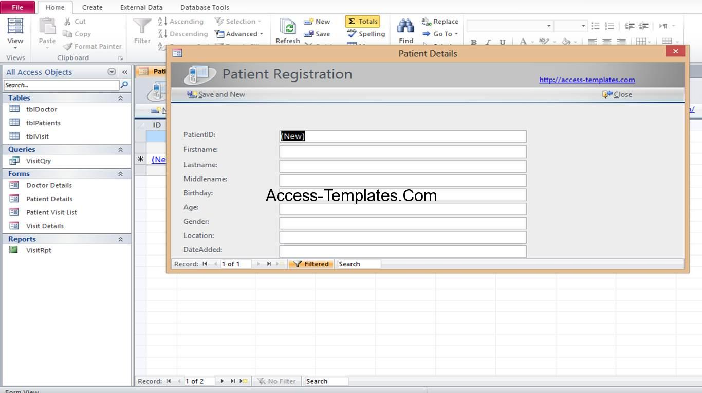 access hospital patient visit registration templates