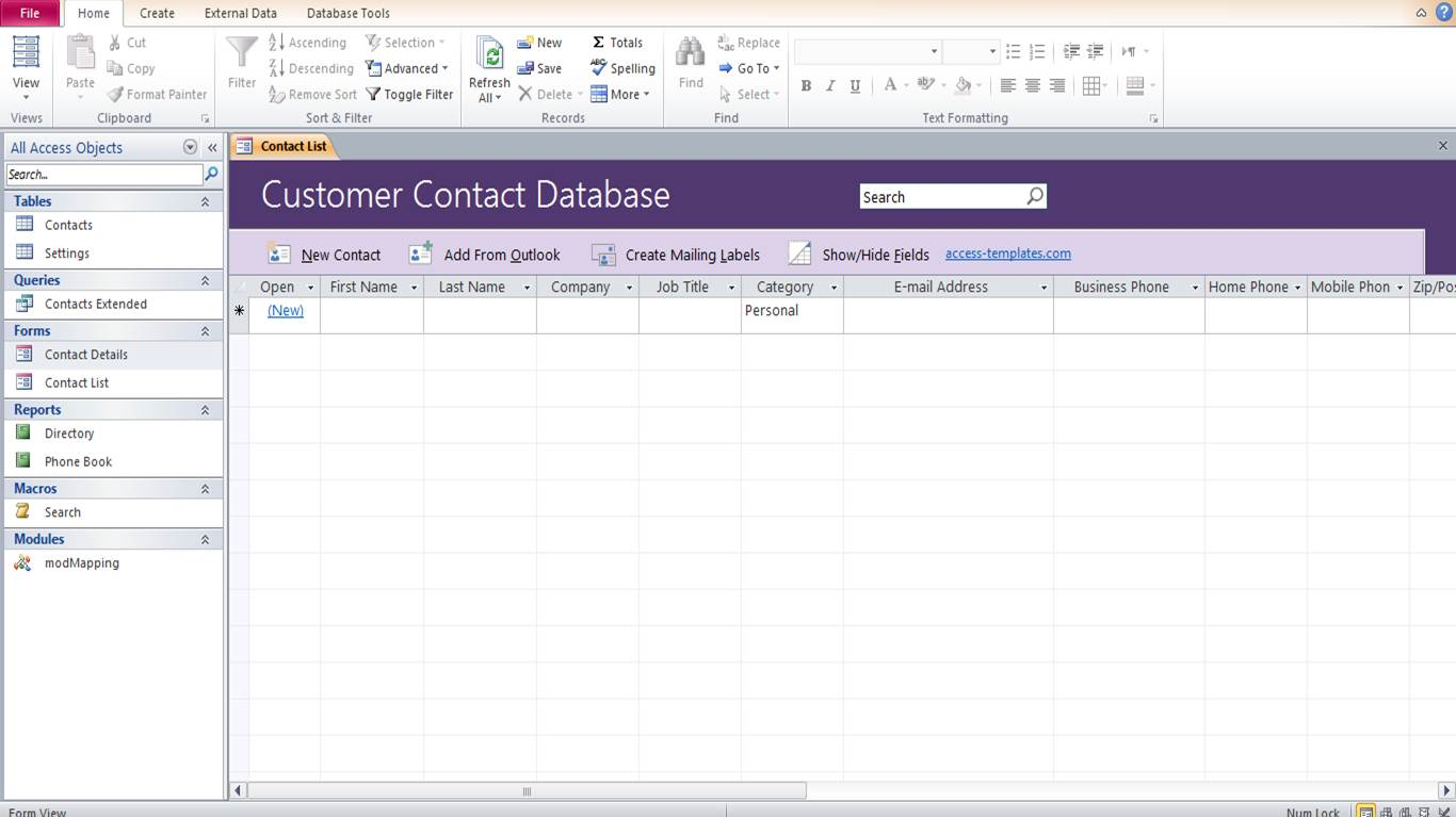 Microsoft Access Customer Contact Database