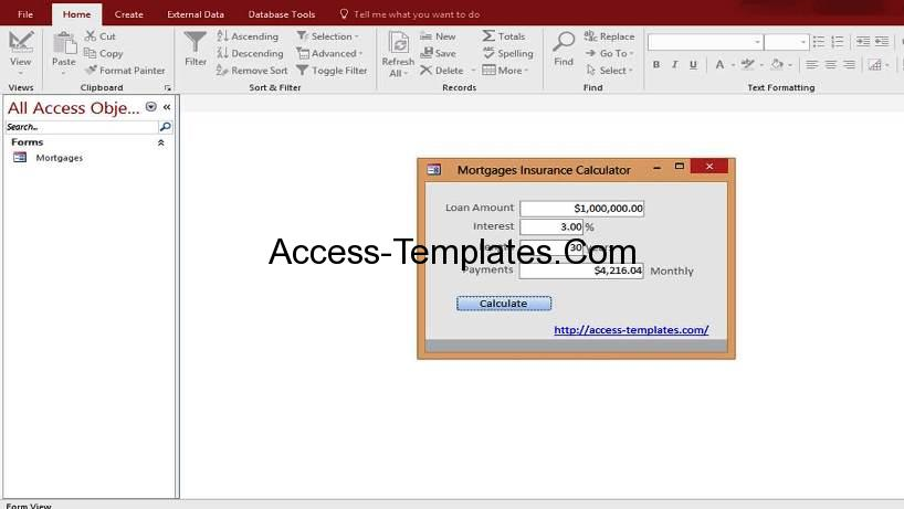 Microsoft Access Mortgage Payoff Payment Rates Calculator Templates