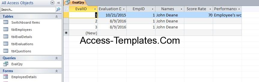 ms access employee database template