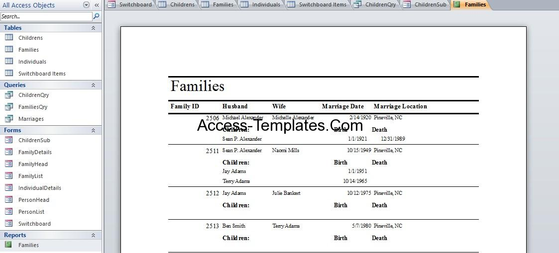genealogy database template