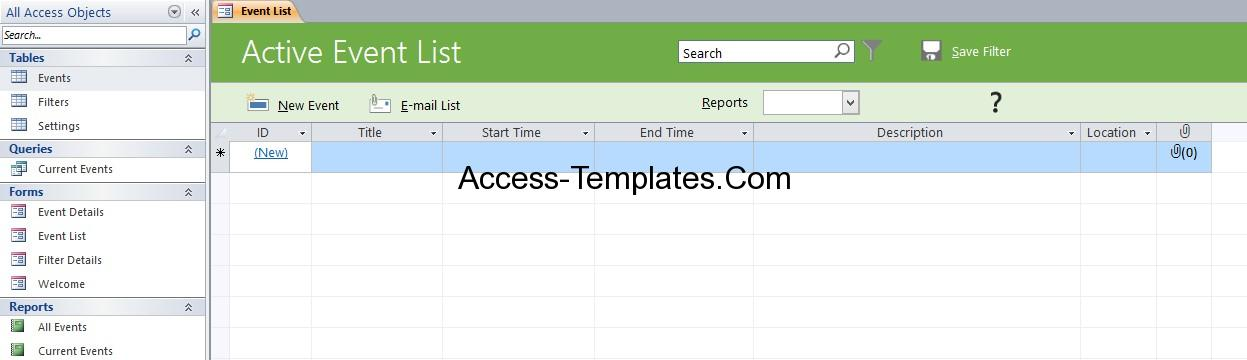 event planning template access database and templates