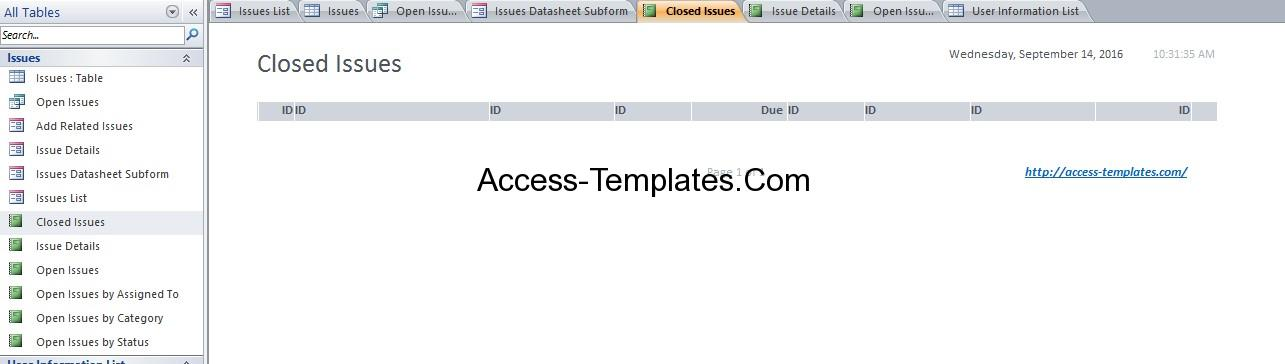 issue tracking database design