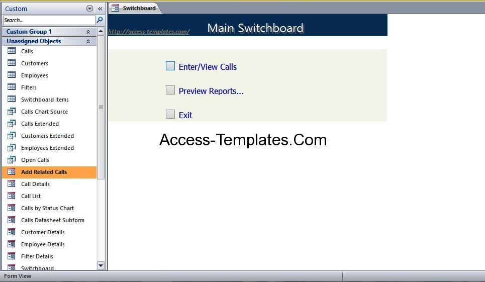 call tracking access database